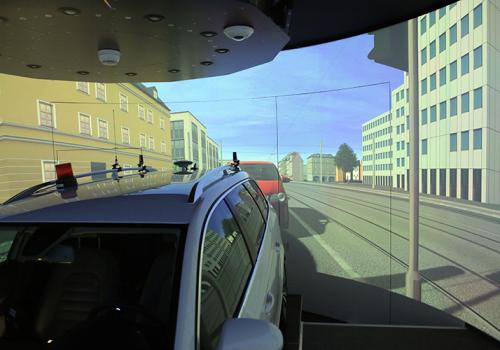 DLR - VR LAB - 360° Hi-res Zylinderprojektion Mit VW FASCar Zur Evaluation Von Fahrerassistenzsystemen - Simulation Für Rückspiegel