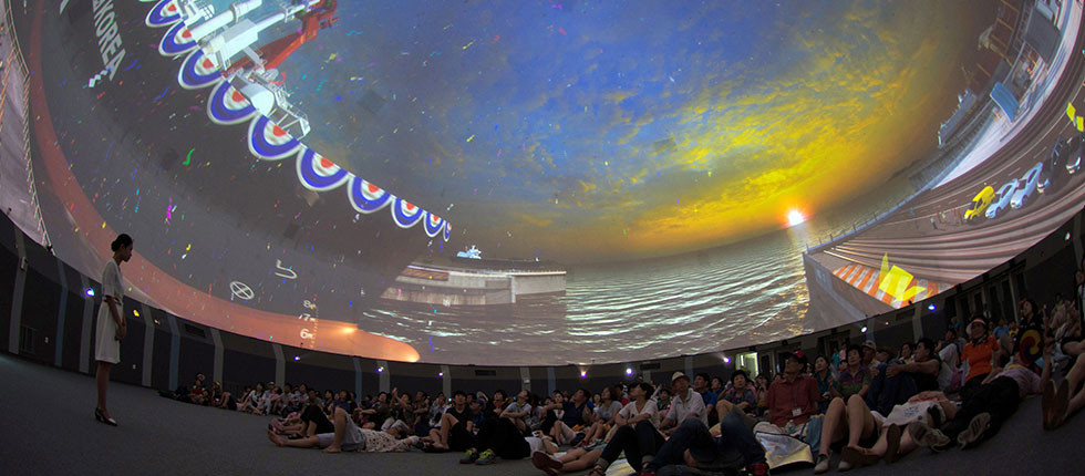 EXPO 2012 - Korea Pavillon mit 12-kanaliger 30m Kuppelprojektion und 9-kanaliger zylindrischer 360° Projektion