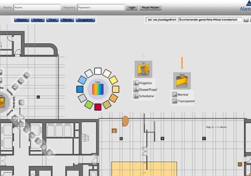 Multitouchtisch Büroraumkonfigurator