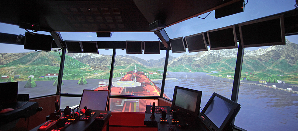 SMSC Kongsberg Ships Bridge Simulator With 13-channel Visual Display Solution