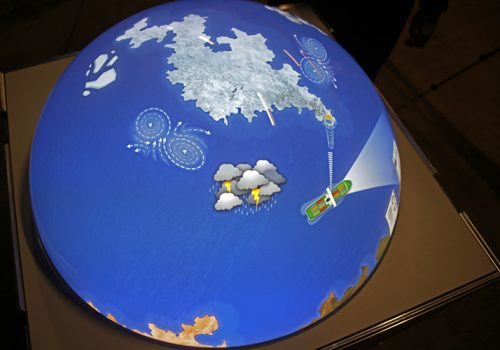 Multitouchglobe With Satellite-controlled Ship Guidance Game